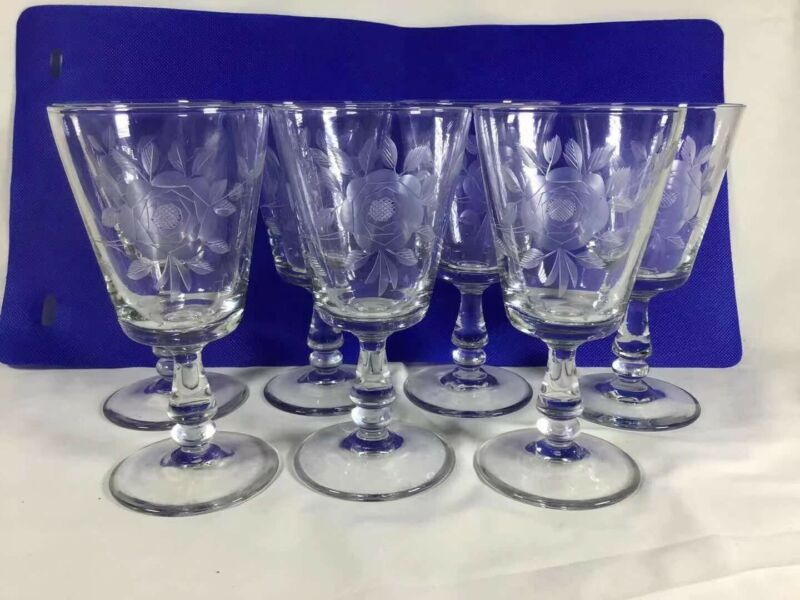 antique rose etched wine glass circa 1930 set of 7