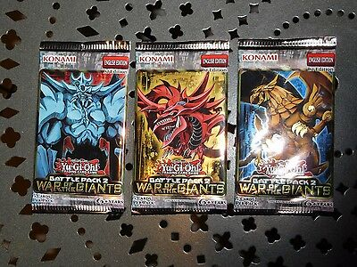 Giants Booster Pack - 3x Yugioh Battle pack 2 War of the Giants booster packs. 1st edition. Brand New.