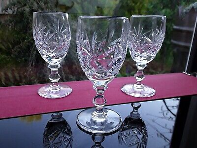3 RARE CUT CRYSTAL SHOT DRAM GLASSES VINTAGE GIN VODKA LIQUER REUNION