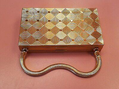 Vintage Gold Tone Evans 2-Sided Vanity Make Up Compact Purse Cigarette Case