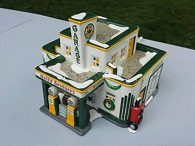 Holly Brothers Garage  Department 56 Snow Village  Retired  1995
