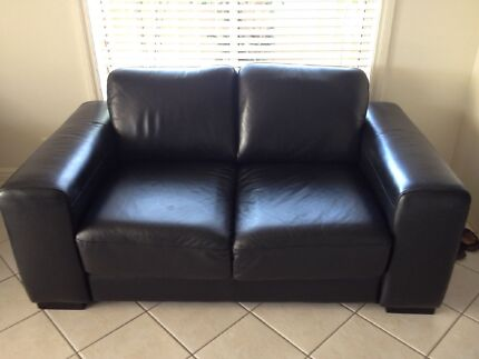 LEATHER LOUNGE 2 x 2 SEATER BLACK AS NEW
