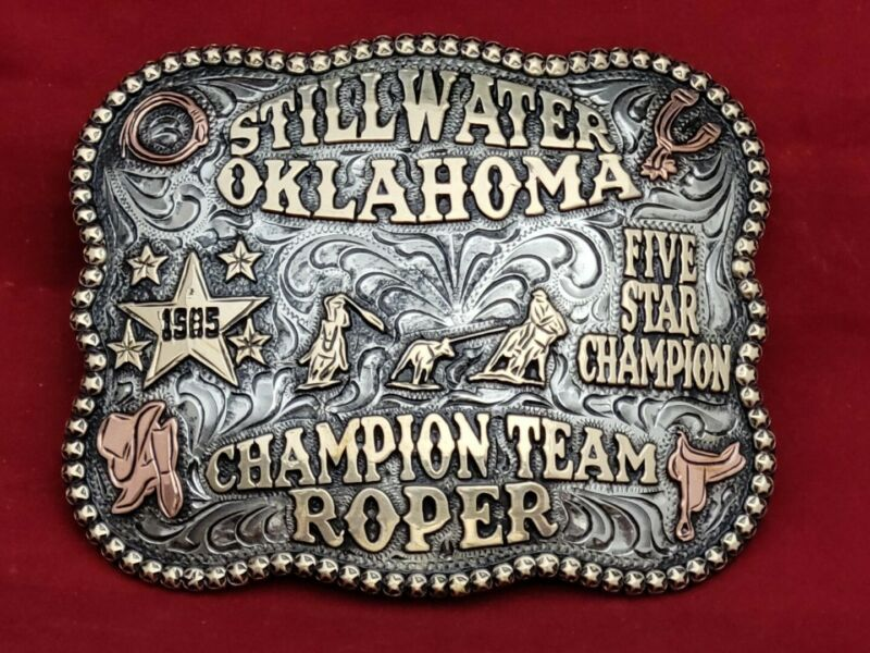 STILLWATER OKLAHOMA TEAM ROPING CHAMPION RODEO TROPHY BUCKLE ☆1985☆VINTAGE 128