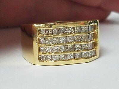 Mens 2.00ct Invisible Set Diamond Ring 18k Yellow Gold Diamond Invisible Mens Ring