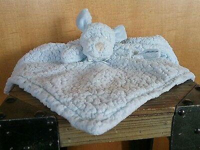 Blankets and Beyond Blue Puppy Dog Baby Berber Security Blanket Minky Lovey EUC