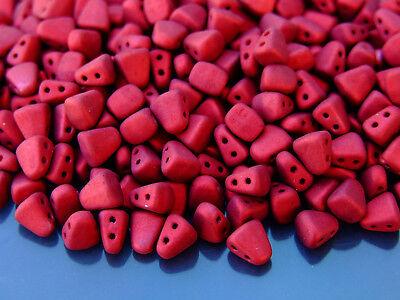 10g Czech Nib - Bit Twin Hole Beads 6x5mm Metalust Matte Lipstick Red