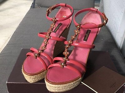 BNIB 100% Auth Louis Vuitton Platform Wedge Sandals Shoes Sz 38.5, US 8.5, $695