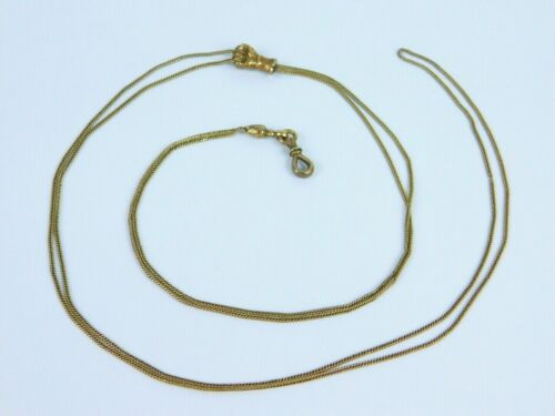 """Antique Victorian 9k Gold Hand Fist Slide Long Watch Fob Muff Chain Necklace 57"""""""