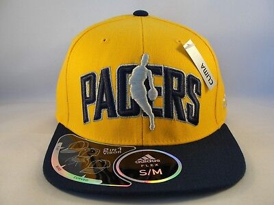 Indiana Pacers NBA Adidas Flex Cap Hat Size S/M Gold Navy