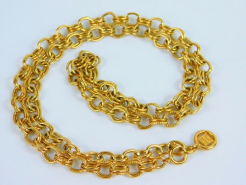 """Givenchy Signed Vintage Double Chain Link Necklace Gold Tone 26"""" Long Chunky"""