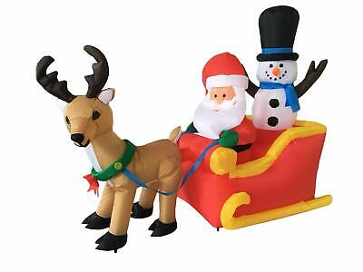 Inflatable Santa And Reindeer (6 Foot Long Christmas Inflatable Santa Claus on Sleigh with Reindeer and)
