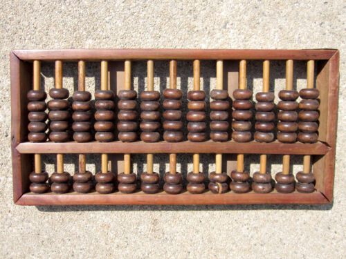 """Vintage 8.75"""" Chinese Wooden Abacus 13 Rows 91 Beads for the Luddite!"""