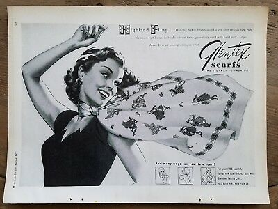 1952 vintage women's Glentex neckscarf scarf Highland fling Scottish dancers ad