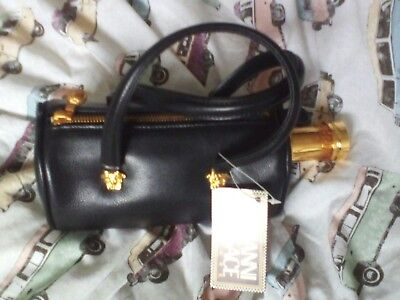 RARE Versace Couture Absolut Vodka bottle black leather Medusa handbag bag 1997