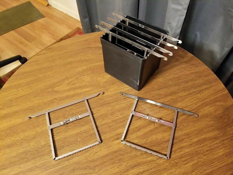 YANKEE 4x5 developing Tank  &  6, stainless Developing Film Framed Hangers/Holdr