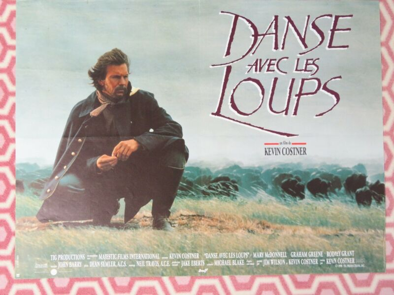 """DANCES WITH WOLVES FRENCH MOYENNE (23.5""""x 31"""") POSTER KEVIN COSSTNER  1991"""