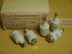 25 D Schmelzeinsätze Schmelzsicherung träge 10A 500V E27 DDR Sicherung Porzellan