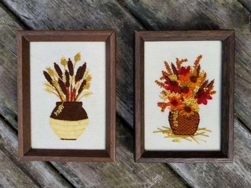 VTG Pair/2 Framed Needlework/Embroidered/Textile FLORAL WALL ART BOHO/Jungalow