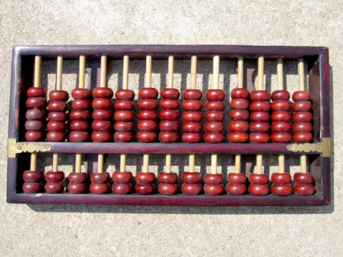 """Vintage 12"""" Chinese Rosewood Wooden Abacus 13 Rows 91 Beads Made in China"""
