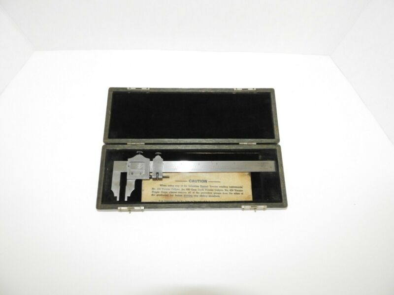 Vintage L.S. Starrett No.122 6 Inch Vernier Caliper in Wooden Case