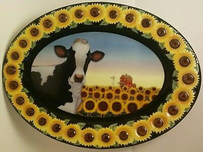 Large Decorative Cow Standing in Sunflowers Porcelain Platter
