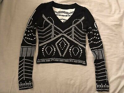Alaia two color black white geometric print reversible cropped top sweater S