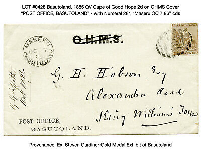 0428: Basutoland, 1886 QV Cape of Good Hope 2d on Maseru Proving Cover