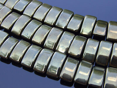 15x Czech Carrier Glass Beads Twin Hole Beads 9x17mm Green Dark Bronze Luster