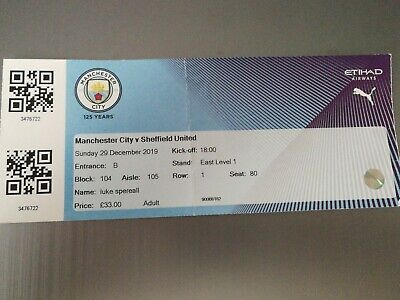 Ticket England Premier League : Manchester City - Sheffield United 29.12.2019