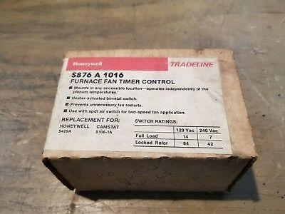 Honeywell Tradeline S876 A 1016 Furnance Fan Timer Control 17js-1110-c4