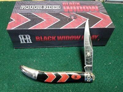 Rough Rider Black Widow Medium Texas Toothpick 4 1 8  Pocket Knife Rr1672