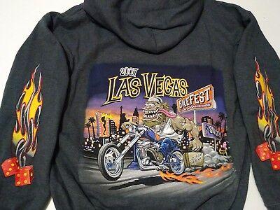 LAS VEGAS BIKE FEST MOTORCYCLE RALLY 2007 MENS HOODIE SWEATSHIRT LG
