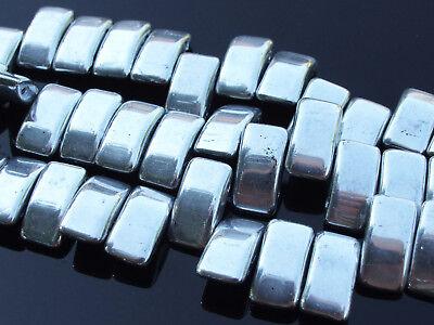 15x Czech Carrier Glass Beads Twin Hole Beads 9x17mm Silver