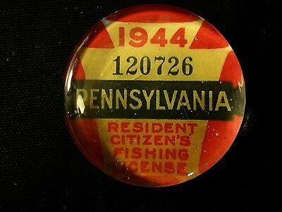 Vintage Style 1944 Pennsylvania   Glass Paperweight Fishing License..by Artist