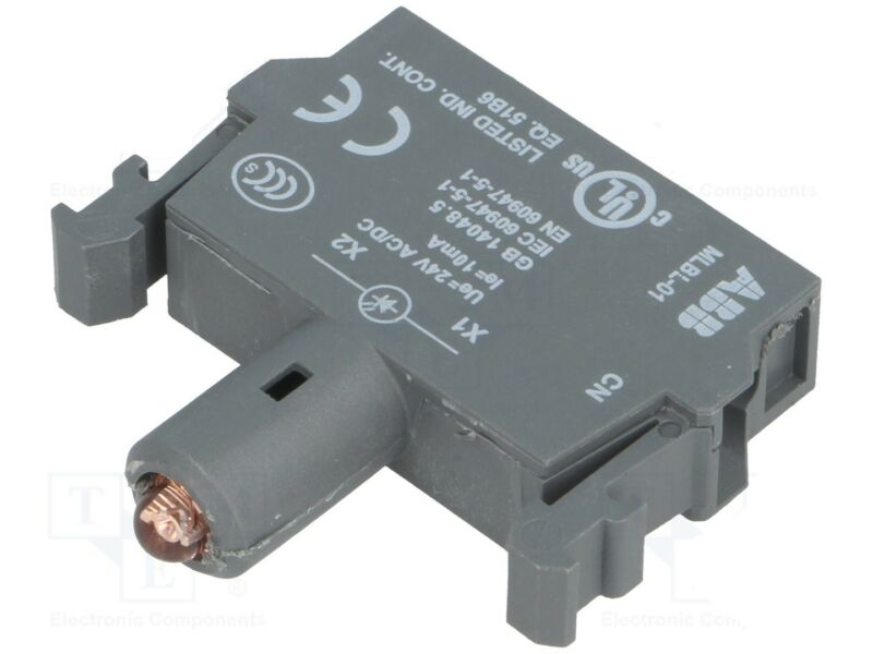 MLBL-01R, ABB, Red lamp block with integrated LED and 24V AC/DC rated voltage