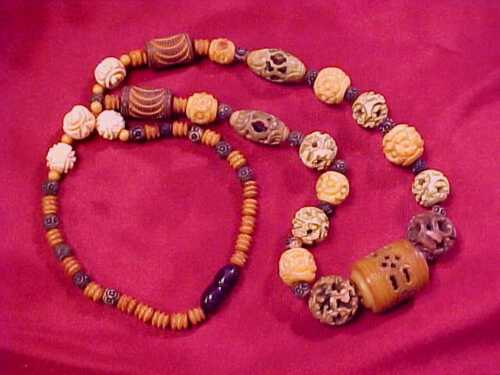 ANTIQUE UNUSUAL DECO ERA CHINESE EXPORT CELLULOID BEAD NECKLACE