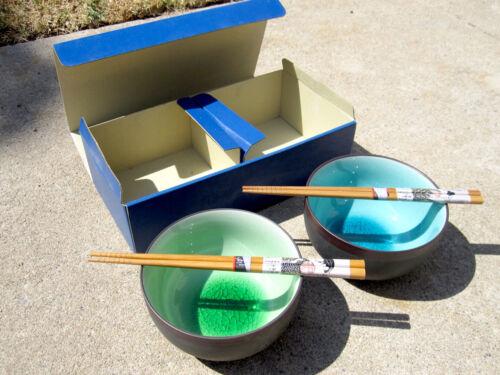 Vintage NEW Set of 2 Ceramic Crackle Glaze Japan Rice Soup Udon Porridge Bowls