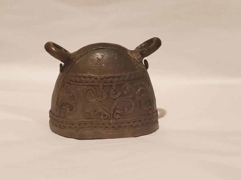 Antique Metal Bronze Water Buffalo (Cow) Bell Double Clanger