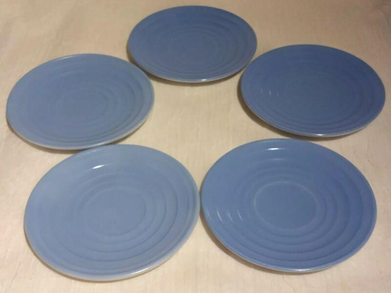 5 Vintage Hazel-Atlas Moderntone Blue Saucers