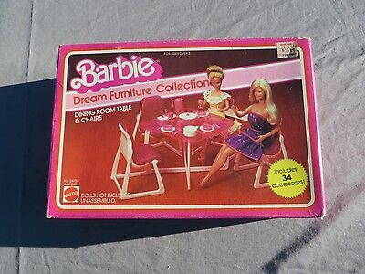 Barbie Dream Furniture Collection Dining Room Table and Chairs Mattel NIB
