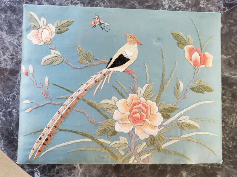 Vintage Large Asian Embroidered Silk Jewelry Box Japanese Chinese Flowers Bird