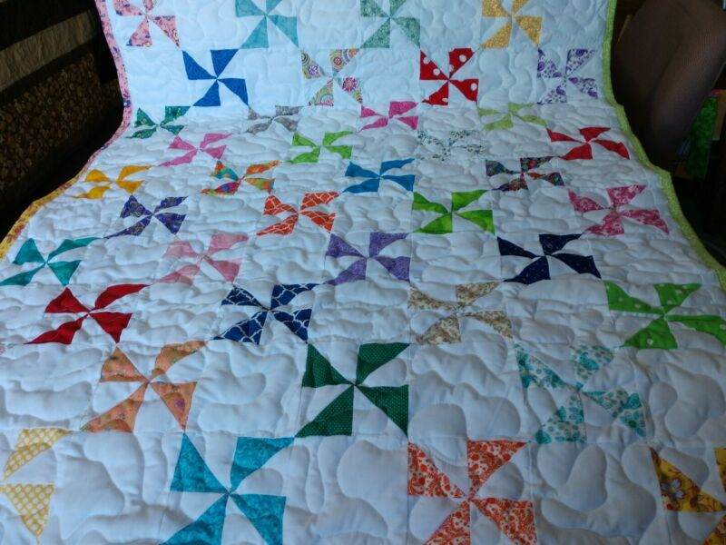 Multiple Color Pinwheel Baby Crib Lap Quilt Handmade Pieced Boy Girl Blanket