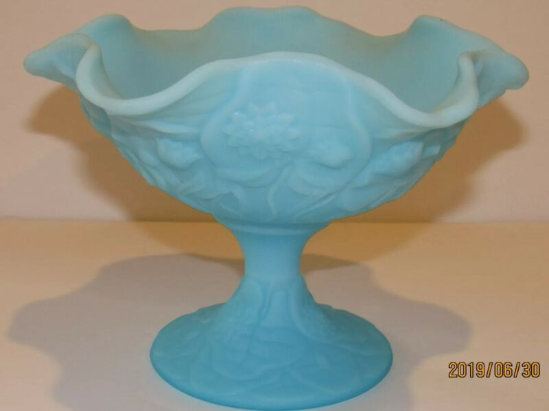 Fenton Glass WaterLily Blue Satin Fluted Compote Candy Dish