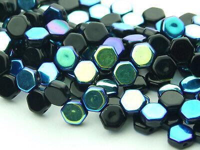 30x Czech Honeycomb Beads 6mm Hexagonal 2 Hole Black AB