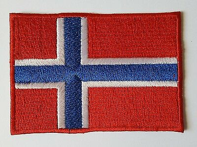 NORWAY FLAG PATCH IRON ON EMBROIDERED PATCH NORWEGIAN FLAG