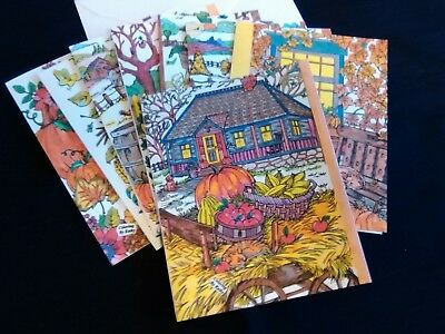 AUTUMN/FALL  BLANK NOTE CARDS.  Set of 8.