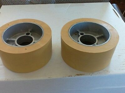 Set Hard Rubber Wheels Pulleys Rollers Machine Feed New 4 34x2 14 Hold Down