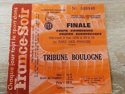 Ticket :  Austria Wien - RSC Anderlecht 1978 European Final UEFA