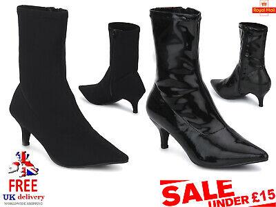 Halloween Toes Designs (Branded Ladies Vegan Pointed Toe Black Lycra Kitten Heel Sock Ankle Boots Size)