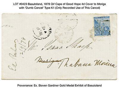 0423: Basutoland, 1878 QV Cape of Good Hope 4d Proving Cover for 'Dumb Cancel'